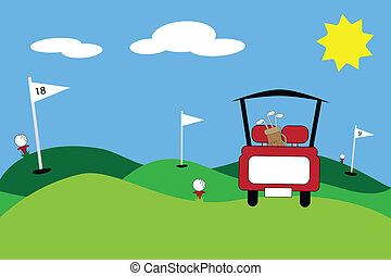 Golf Scene - Cute golf cart clubs scene