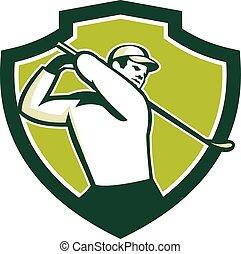 golf, schild, tee, retro, van, golfspeler