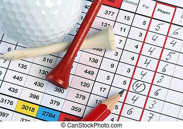 golf scorecard with circled in birdie