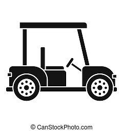 golf, semplice, icona, automobile, stile