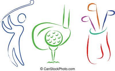 golf set  - sketch of golf set items abstract illustration
