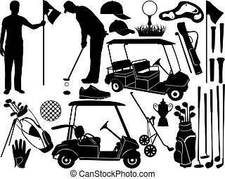 Golf set isolated on white