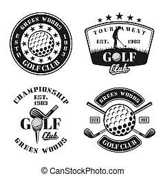 Golf set of four vector emblems, badges, labels
