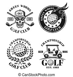 Golf set of four vector isolated vintage emblems