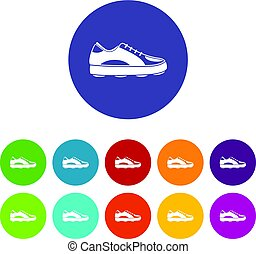 Golf shoe icons set flat vector
