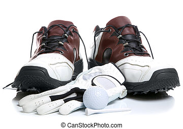 Golf shoes, Ball, Glove and Tee. High key shot.