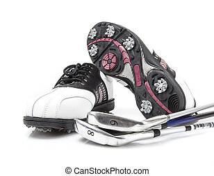Golf shoes with clubs