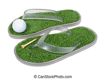 Golf shoes with artificial grass and golf ball and tee - path included