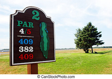 Golf sign on the golf course.
