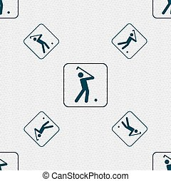 Golf sign. Seamless pattern with geometric texture. Vector