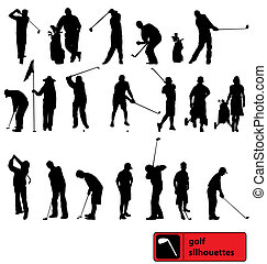 many different golf player silhouettes with high detail