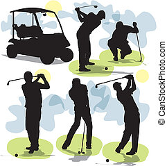 golf, siluetas, vector, conjunto
