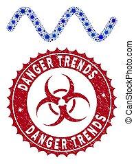 golf, sinusoid, collage, trends, coronavirus, gevaar, ...