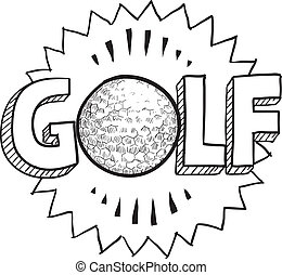 Golf sketch - Doodle style golf illustration in vector...