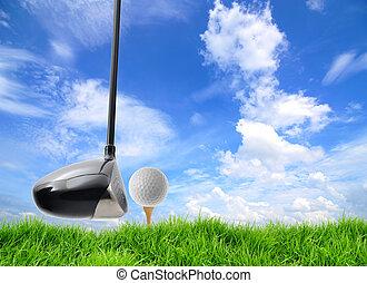 golf, spento, tee