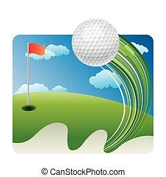 golf sport - golf on grass with blue sky