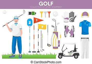 Golf sport equipment golfer player garment accessory vector icons set