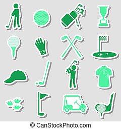 golf, sport, jednoduchý, čerň, prasečkář, dát, eps10