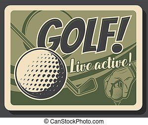 Golf sport player hand with ball, club and tee
