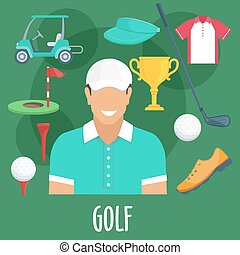 Golf sport profession, equipment and outfit