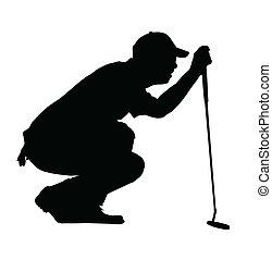 Golf Sport Silhouette - Golfer kneeling judging putting...