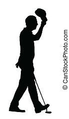 Golf Sport Silhouette – Golfer Lifting Cap - Golf Sport...