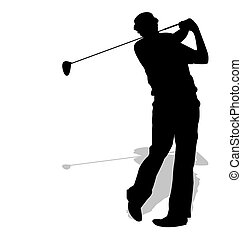golf, sportende, silhouette