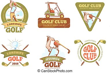 Golf sports club, tournament vector color labels, emblems, badges and logos