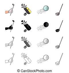 Golf stick in hand, putter in bag, ball in flight, stick....