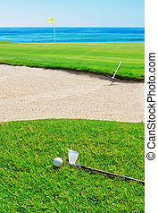 Golf stick on the grass field and ball on the background of the sea.