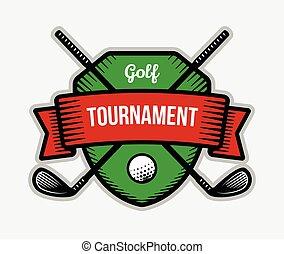 Golf summer sport tournament logo.