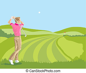 hand drawn vector illustration of a golfer playing a drive down the fairway with blue sky background