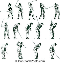 Golf swing stages vector illustration