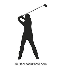 golf, swing., vektor, golfer, silhuet