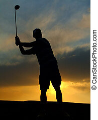 golf, sylwetka, gracz