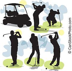 golf, sylwetka, wektor, komplet