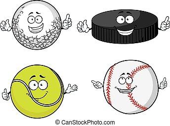Golf, tennis, baseball balls and hockey puck