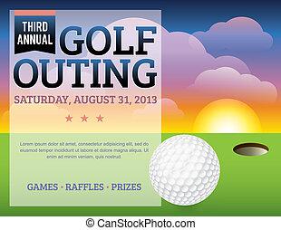 golf, toernooi, ontwerp, uitnodiging