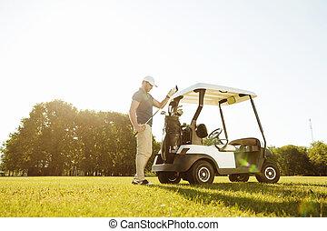 golf, toma, carrito, bolsa, clubes, golfista