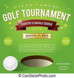 golf, torneo, diseño, invitación