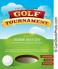 golf, torneo, disegno, invito