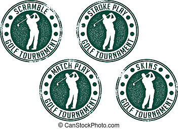 Golf Tournament Stamps - Collection of distressed golf...