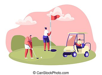 Golf Tournament, Young People Playing Sport Game on Course with Green Grass, Flagstick, Hole, Cart and Professional Equipment, Summer Spare Time, Luxury Recreation, Cartoon Flat Vector Illustration