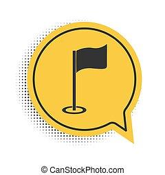 golf, vagy, lobogó, elszigetelt, beszéd, sárga, jelkép., háttér., fehér, accessory., ikon, vektor, felszerelés, fekete, buborék