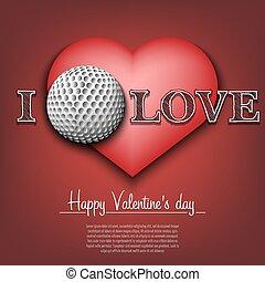 golf., valentines, heureux, jour, amour