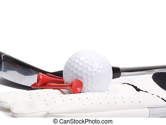 golf, vas, és, labda