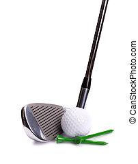 golf, vas, labda, és, elkezdődik
