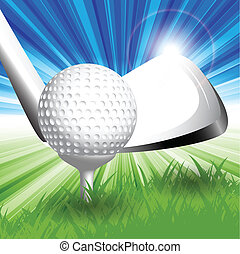 golf - abstract illustration ball for golf and hockey stick...
