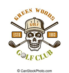 Golf vector colored emblem with skull in hat