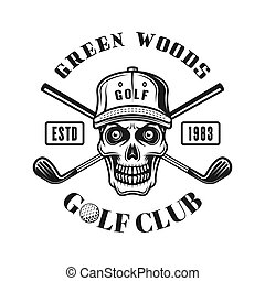 Golf vector emblem with skull in hat